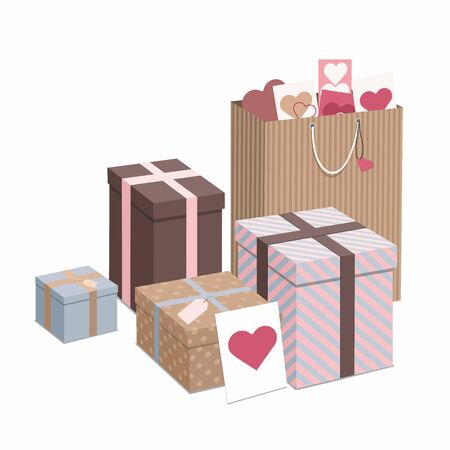 Happy Valentines Day. Gifts isolated on white background. Isometric Illustration
