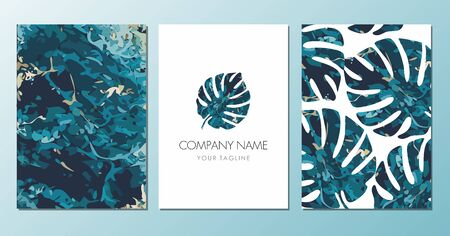 Colorful Monstera leaf label on white. Exotic leaf banners, posters, cards or flyers. Vector