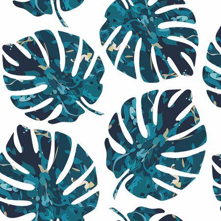 Colorful Monstera leaf background. Vector seamless pattern. Graphic illustration. Exotic leaf Çizim