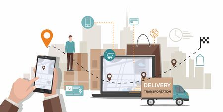 Delivery service. Business logistics. Commercial delivery service concept. Vector Infographic