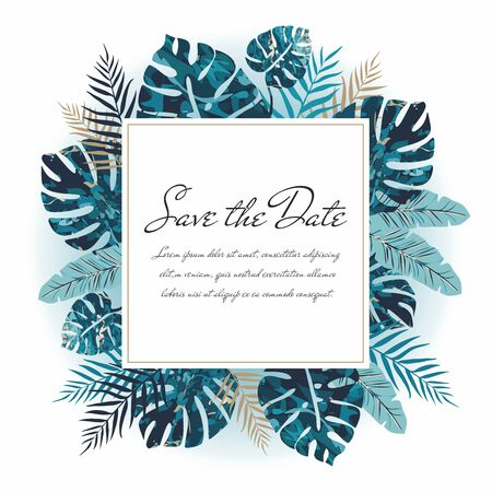 Colorful greeting card with exotic leaves. Poster or flyer