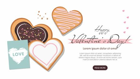 Valentines day. Heart shaped cookies and postcard on white. Top view. Landing page template. Çizim