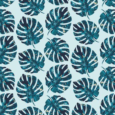 Colorful Monstera leaf background. Vector pattern. Exotic leaf