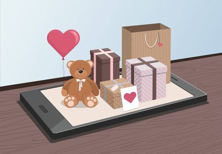 Valentines day. Teddy Bear and clorful gifts on phone. Isometric Vector Illustration Çizim