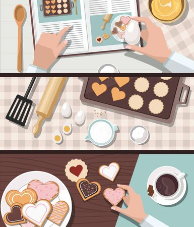 Woman baking. Baking utensils and cooking ingredients for cookies. Valentines day. Top view.