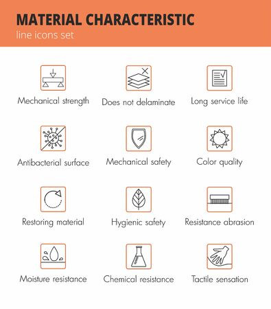 Material and fabric properties lines icons set. Vector Çizim