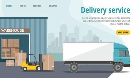 Forklift truck in warehouse. Truck loading. Vector web banner Çizim