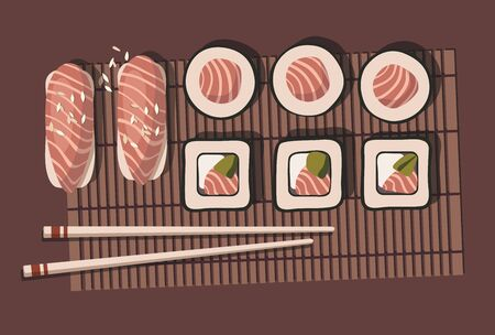 Sushi roll with salmon. Japanese cuisine. Top view. Vector Illustration