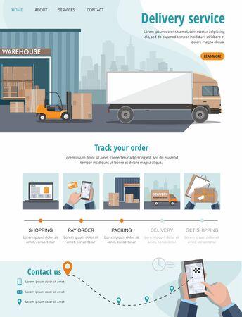 Delivery service. Business logistics, smart logistics technologies, commercial delivery service concept. Web banner, landing page. Vector