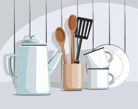 Simple rustic kitchenware, against vintage wooden background. Kitchen still life. Vector Çizim