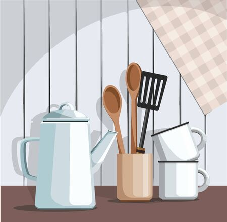 Simple rustic kitchenware, against vintage wooden background. Kitchen still life. Vector Illustration