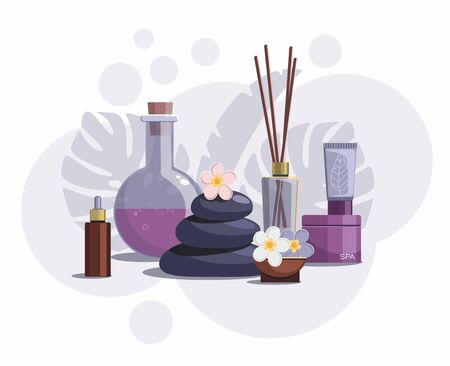 Spa composition with bottles of natural oil, hot stones and flowers on white background. Tropical spa resort concept.