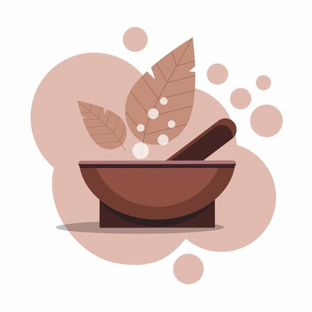Mortar and pestle  with leaves isolated on white. Vector design herbal medicine, signs and symbols