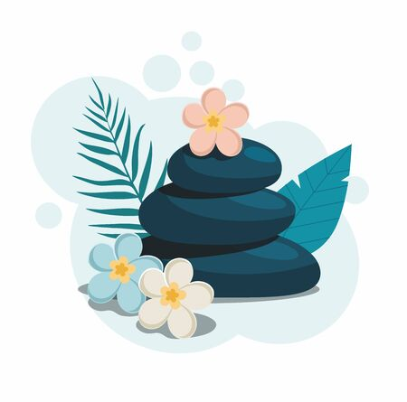 Spa stones with flowers isolated on light blue background. Vector Illustration