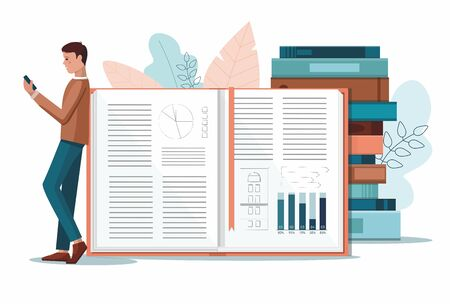 Online reading concept. Young man standing near huge books . Vector Illustration