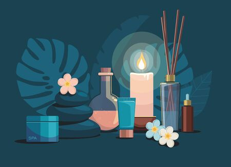 Spa composition with bottles of cosmetics, hot stones, candle and flowers on dark background. Tropical spa resort concept.