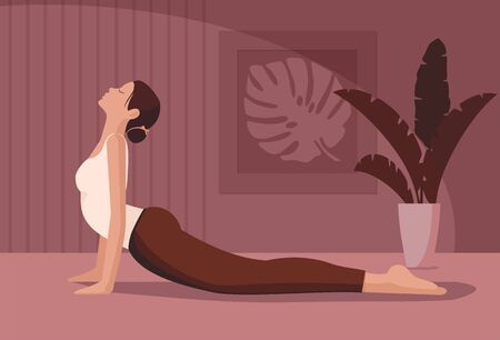 Young woman practising yoga at home interior with homeplants.  Vector Illustration