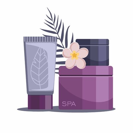 Spa composition with bottles of cosmetics on white background. Tropical spa resort. Vector Illustration