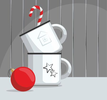 Two mugs, red Christmas ball and  candy cane on a wooden background. Vector Illustration