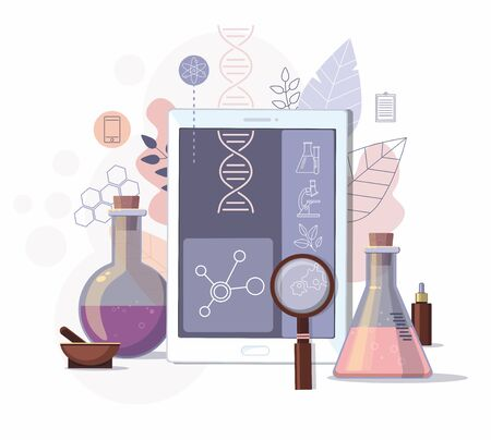 Science equipment and  digital tablet in laboratory. Scientific experiment and education development concept. Vector