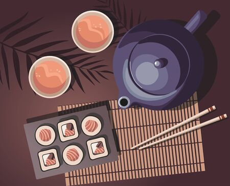 Teapot, mugs of tea and sushi roll with salmon on exotic leaves. Japanese cuisine. Top view. Illustration
