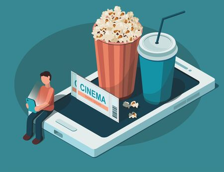 Online cinema concept. Man watches a movie with popcorn bowl and drink. Isometric vector Illustration Illustration