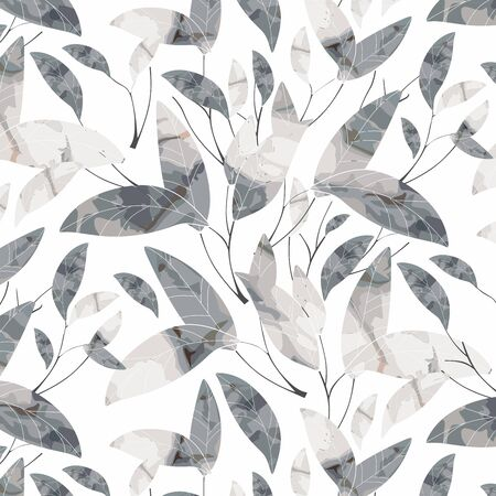 Pattern, long leaves on white background. Vector ornament