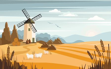 Rural colorful landscape with a mill. Farm, agriculture, bakery. Vector Illustration Illustration