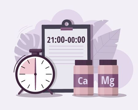 Calcium, magnesiumand and alarm clock. Time of pill. Health care, pharmacy, medicine concept . Vector Illustration