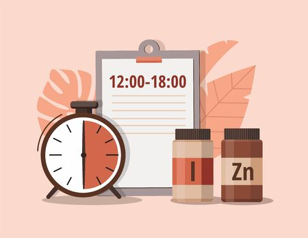 Iodine, zinc and alarm clock. Time of pill. Health care, pharmacy, medicine concept . Vector