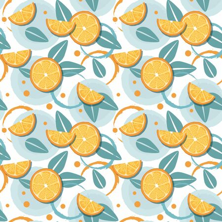 Slices of orange and leaf on white background. Summer tropical pattern. Vector