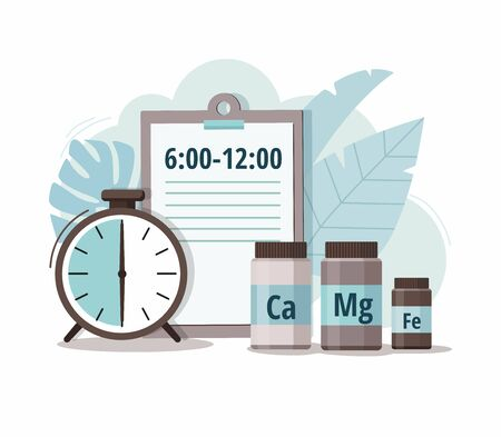 Calcium, magnesium, iron and alarm clock. Time of pill. Health care, pharmacy, medicine concept.  Vector