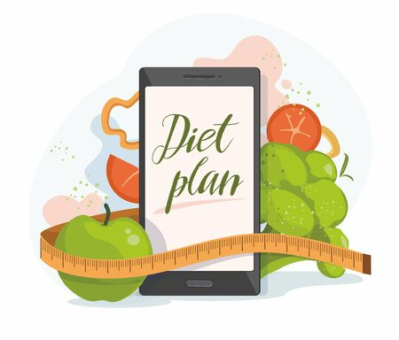Mobile phone and healthy food on white . Weight loss concept. Vector Illustration