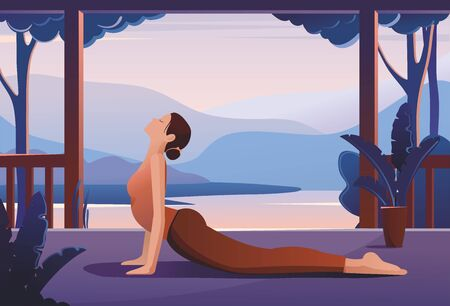 Young woman practising yoga against a tropical landscape.  Vector Illustration