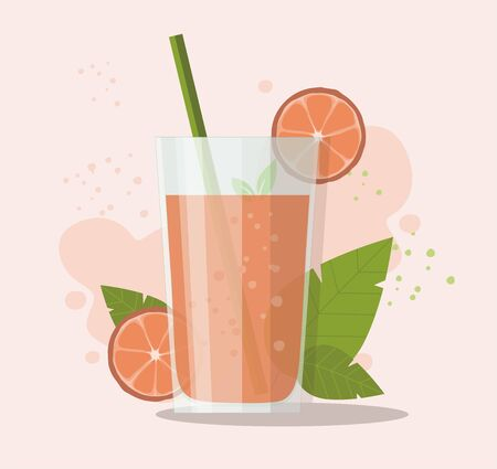 Glass of grapefruit juice with sliced grapefruit. Healthy food. Vector Illustration