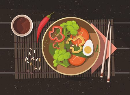 Spinach salad with fresh tomato, egg and  broccoli on dark background. Healthy vegan food. Top view. Vector Illustration