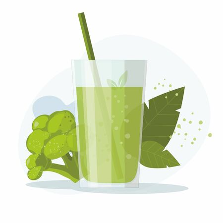 Glass of fresh juice with broccoli on white background.  Healthy food. Vector Illustration Illustration