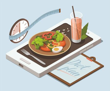 Vegetable salad and glass of juice on mobile phone. Weight loss concept. Isometric Illustration