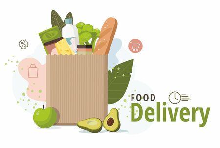Food in paper bag. Food delivery service concept, online order. Vector Illustration 向量圖像