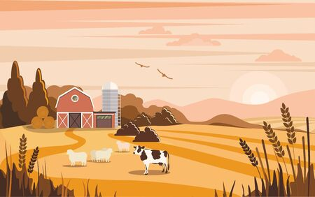 Rural colorful landscape with farm house. Farm, agriculture Illustration