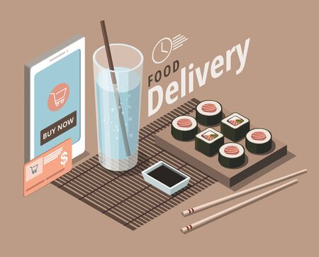 Food delivery service template. Restaurant japanese menu. Isometric Illustration 向量圖像