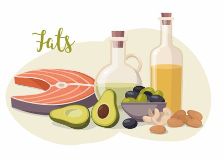 High fat food isolated on white. Olive oil, olives, avocado, fish and nuts. Vector Illustration