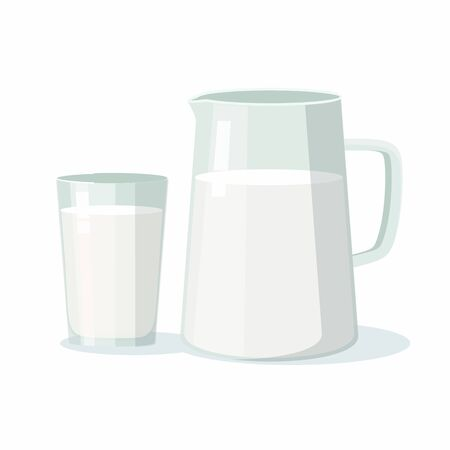 Pitcher with milk and glass mug on white background.  Vector Illustration