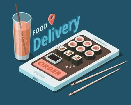 Sushi food delivery service template. Restaurant japanese menu. Isometric Illustration 向量圖像