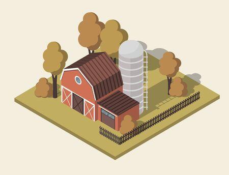 Rural farm house 3d isometric. Farmland Countryside Landscape. Vector Illustration 向量圖像