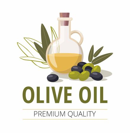 Glass bottle of olive oil and olives with leaves. Vector Illustration