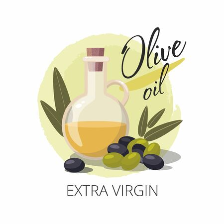 Glass bottle of extra virgin olive oil and olives with leaves.