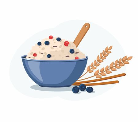 Oatmeal porridge with blueberry in ceramic bowl. Healthy food for breakfast. Vector Illustration
