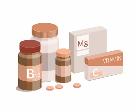 Vitamin bottles and medical pills on white background. Vector Illustration 向量圖像