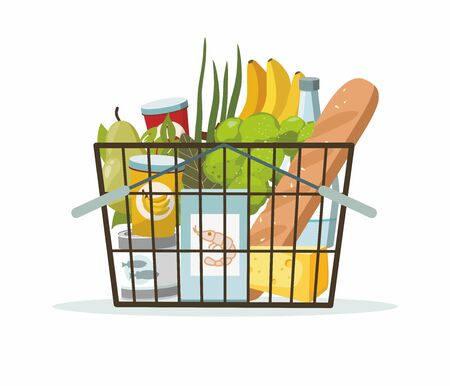 Shopping basket with grocery products on white background. Supermarket basketful, vector illustration Illustration